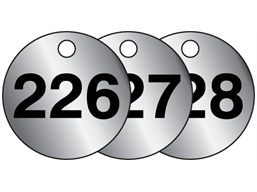 Aluminium valve tags, numbered 226-250