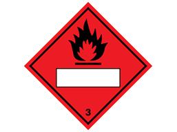 Flammable, class 3, hazard diamond label (with write on panel)