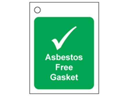 Asbestos free gasket tag.