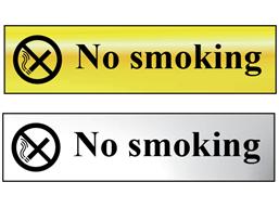 No smoking metal doorplate