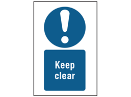 Keep clear symbol and text safety sign.