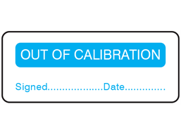 Out of calibration label