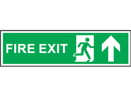 Fire exit arrow up symbol and text safety sign.