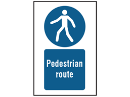 Pedestrian route symbol and text safety sign.