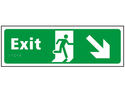 Exit, running man, arrow down right sign.
