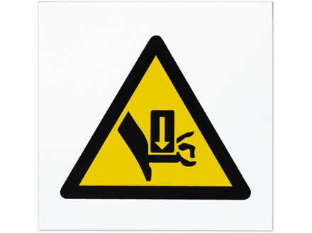 Crush hazard symbol safety sign.