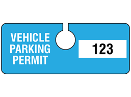 Vehicle parking permit tag, serial numbered