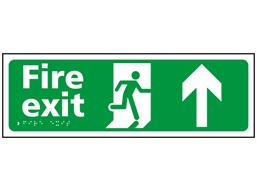 Fire exit, running man, arrow up sign.