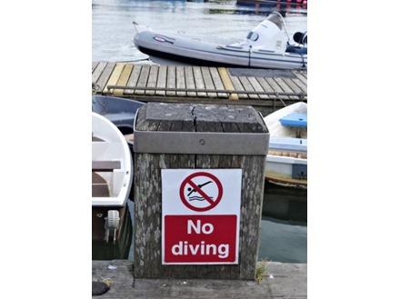 No diving sign.