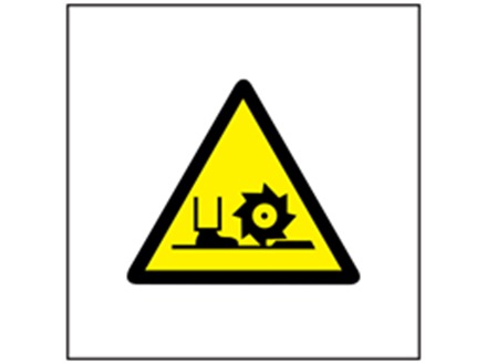 Rotating cutter or blade symbol safety sign.