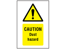 Caution Dust hazard symbol and text safety sign.