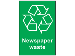 Newspaper waste recycling sign.