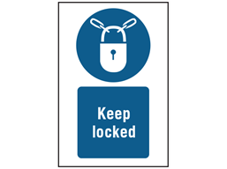 Keep locked symbol and text safety sign.