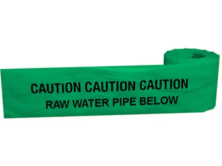 Caution raw water below tape.