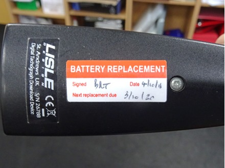 Battery replacement write and seal labels.