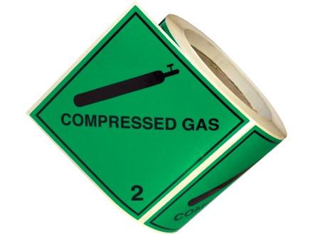 Compressed gas, class 2, hazard diamond label
