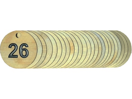 Brass valve tags, numbered 26-50