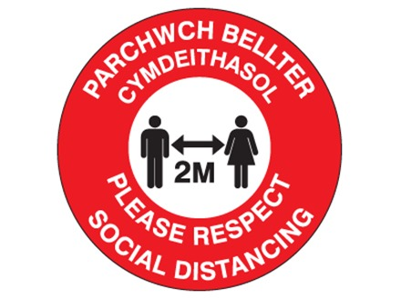 Please respect social distancing, 2 metres (bilingual Welsh/English)