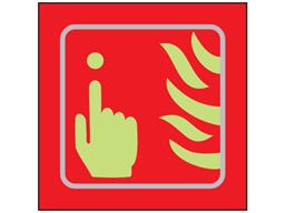 Fire alarm symbol photoluminescent sign.