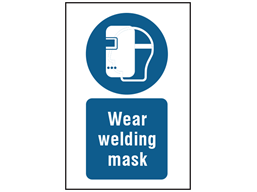 Wear welding mask symbol and text safety sign.