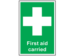 First aid carried symbol and text sign.