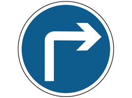 Right turn ahead sign