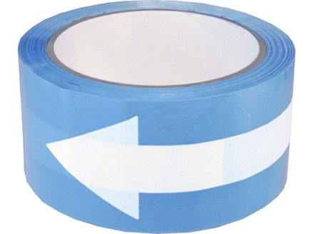 Safety and floor direction tapes, white arrow on blue.