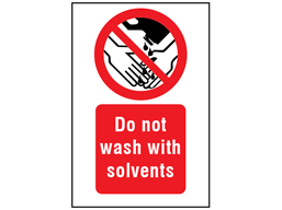Do not wash with solvents symbol and text safety sign.