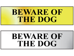 Beware of dog metal doorplate