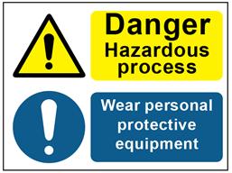 COSHH. Danger hazardous process, wear personal protective equipment sign.