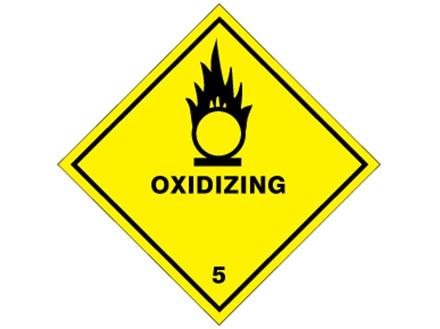 Oxidizing, class 5, hazard diamond label