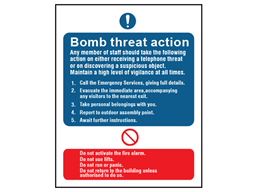 Bomb threat action sign