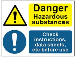 COSHH. Danger hazardous substances, check instructions sign.
