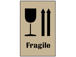 Combination fragile and this way up stencil