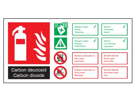 Carbon deuocsyd / Carbon dioxide extinguisher safety sign.