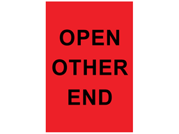 Open other end shipping label.