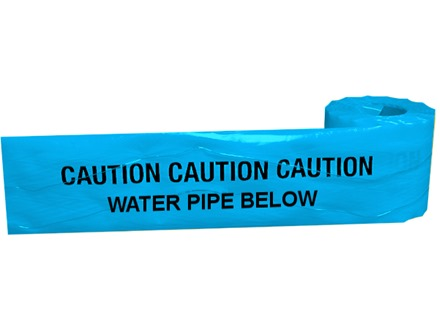 Caution water pipe below tape.