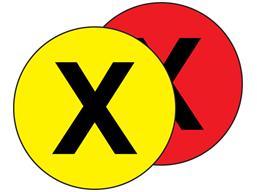 Aisle floor markers, X
