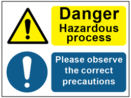 COSHH. Dangerous hazard process, correct precautions sign.