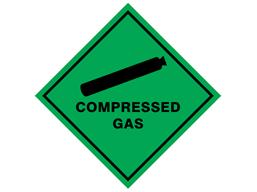 Compressed gas hazard warning diamond sign
