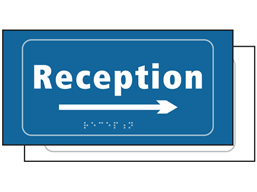 Reception, arrow right sign.