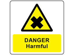 Danger harmful symbol and text safety label.