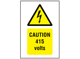 Caution 415 volts symbol and text safety sign.