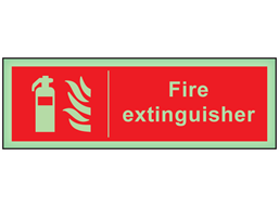 Fire extinguisher photoluminescent safety sign