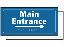 Main entrance, arrow right sign.