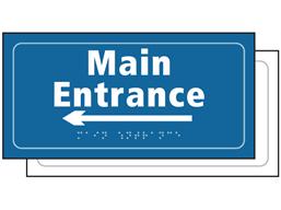 Main entrance, arrow left sign.