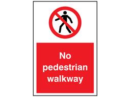 No pedestrian walkway symbol and text sign