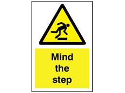 Mind the step symbol and text sign