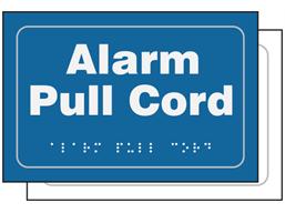 Alarm pull cord sign.