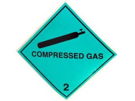 Compressed gas 2 hazard warning diamond sign